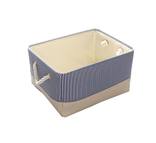 TheWarmHome Decorative Basket Rectangular Fabric Storage Bin Organizer Basket with Handles for Clothes Storage