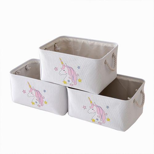 "Unicorn - Canvas Storage Bins with Cotton Rope Handles, 15.3""(L)*11.5""(W)*8""(H), 3-Pack, Collapsible, Decorative Basket"
