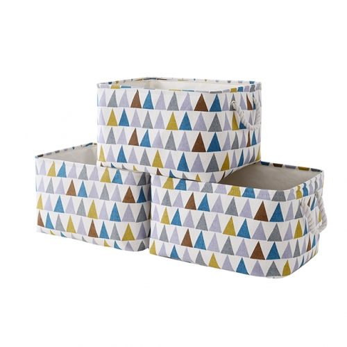 "Colorful Triangle - Canvas Storage Bins with Cotton Rope Handles, 15.4""(L)*12""(W)*8""(H), 3-Pack, Collapsible, Decorative Basket"