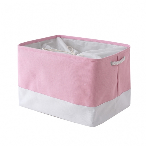 "Pink and White - Linen Storage Bins with Cotton Rope Handles, 20.5""(L)*15.7""(W)*13.8""(H), Collapsible, Decorative Basket"